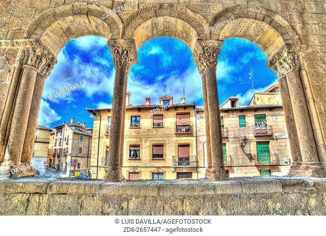 portico romanesque of san esteban church. segovia. spain