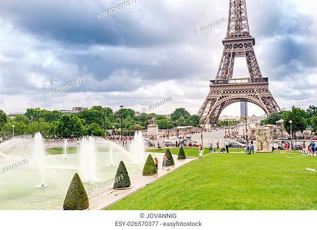 Paris, France. Amazing Eiffel Tower view from Trocadero Gardens