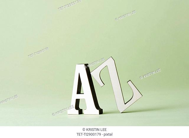 Studio shot of letters A and Z