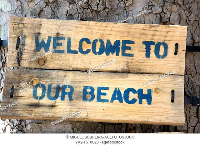Welcome to out Beach sign