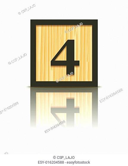 Vector number 4 wooden block