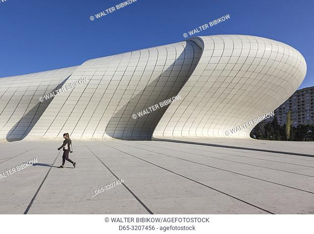 Azerbaijan, Baku, Heydar Aliyev Cultural Center, building designed by Zaha Hadid, exterior with visitors, NR