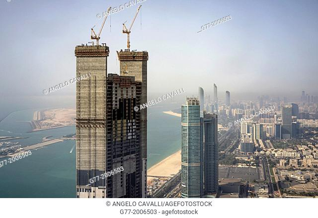 High rise building constructions on the Corniche, Abu Dhabi, United Arab Emirates