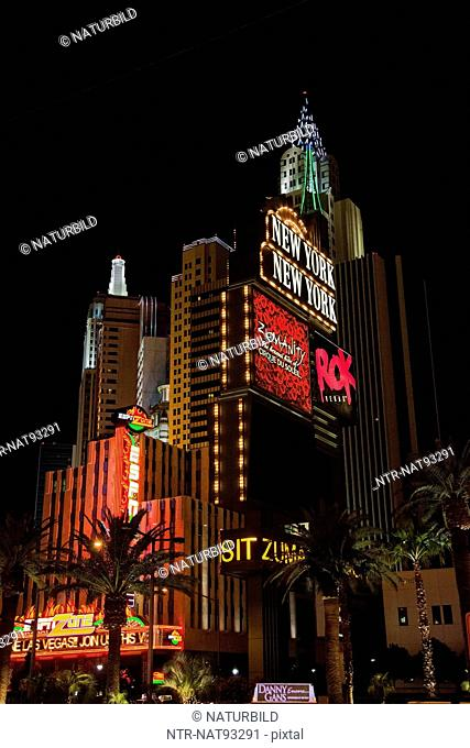 Low angle view of Las Vegas buildings illuminate at night