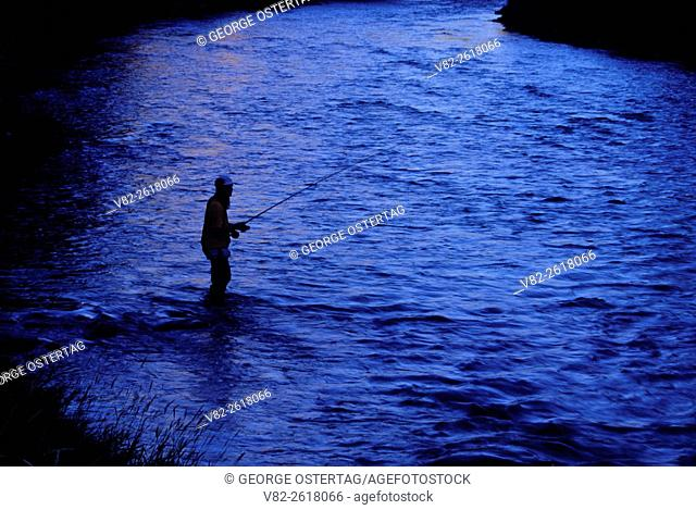 Flyfishing on Wallowa River, Wallowa Lake Forest Highway State Park, Hells Canyon Scenic Byway, Oregon