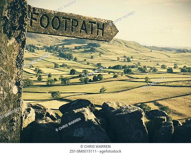 Footpath sign post Yorkshire Dales UK
