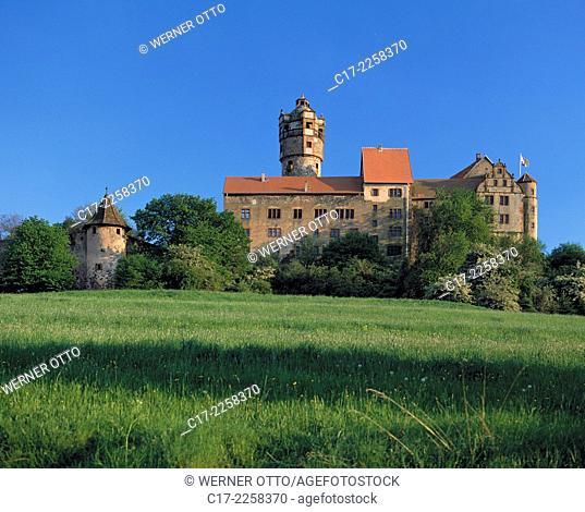 D-Ronneburg, Wetterau, Westhessisches Bergland, Hessisches Bergland, Hessen, Burg Ronneburg, Hoehenburg, Mittelalter, Wiesenlandschaft, D-Ronneburg, Wetterau