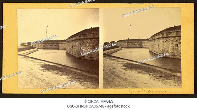 South Side Exterior Walls and Moat, Fort Monroe, Virginia, USA, George Stacy, Stereo Card, 1861