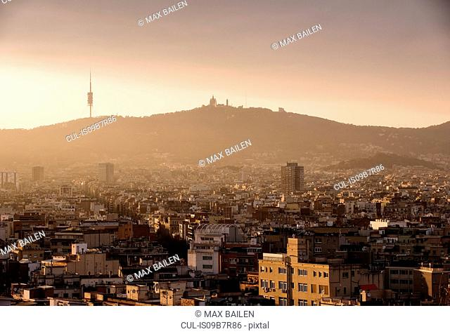 Elevated cityscape view to Tibidabo from Montjuic, Barcelona, Spain