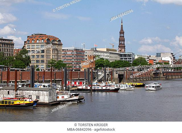 Inland harbour, boats, Haus der Seefahrt, tower of the St. Catherine's Church, Hamburg, Germany, Europe
