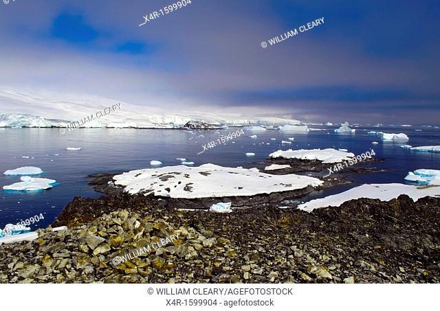 The coastline of the Antarctic Peninsula, at Puerto Covadonga, near the location of the Chilean Base General Bernardo O'Higgins Riquelme