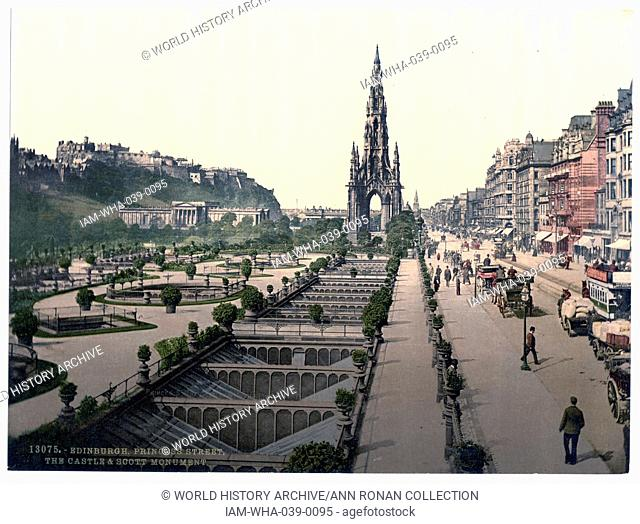 Princess Street (i.e. Princes Street), the castle, and Scott Monument, Edinburgh, Scotland. 1890 - 1900