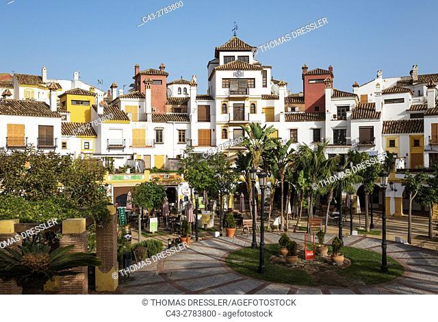 Andalusian architecture prevails in many contemporary urbanizations like La Alcaidesa at the Mediterranean Sea. Cadiz province, Andalusia, Spain