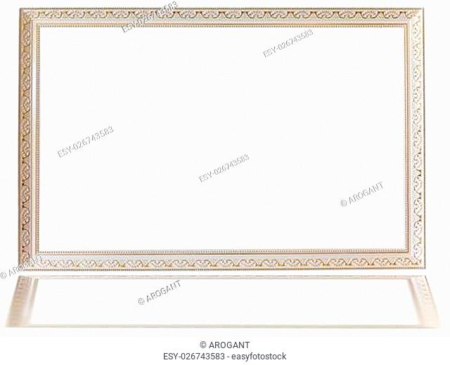 Classic white wooden frame isolated on white background