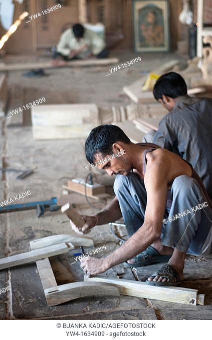Carpenter in Cabinet making workshop, Jaipur, Rajasthan, India
