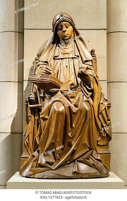 Saint Bridget of Sweden, ca  1470, Master of Soeterbeeck, active ca  1470-1480, Walnut, rock crystal cabochon, Originally painted  Overall: 33 7/8 x 17 5/8 x 11...