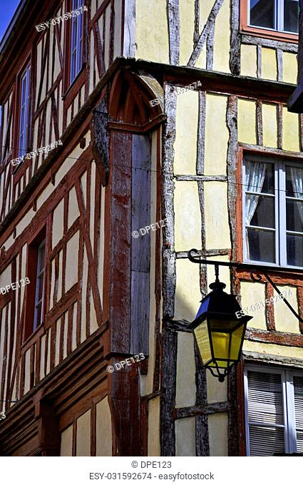 A medieval half-timbered building in the ancient french town of Dinan in Brittany
