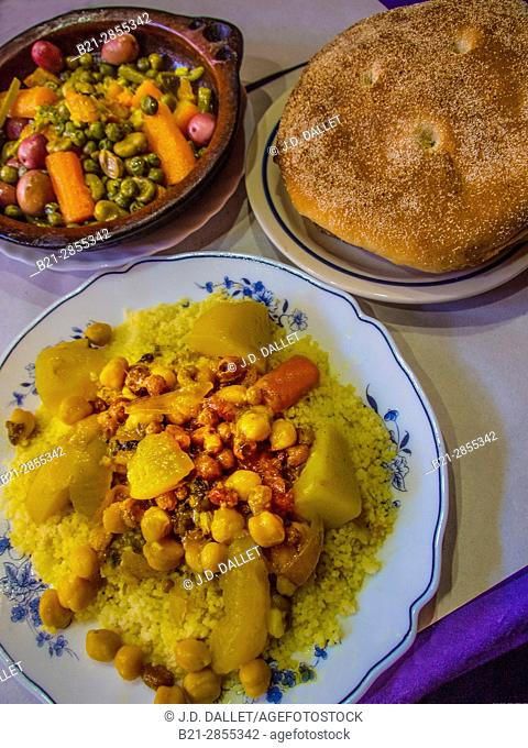 Morocco, Food, Vegetables tagine ( stew) and vegetables Couscous, with bread