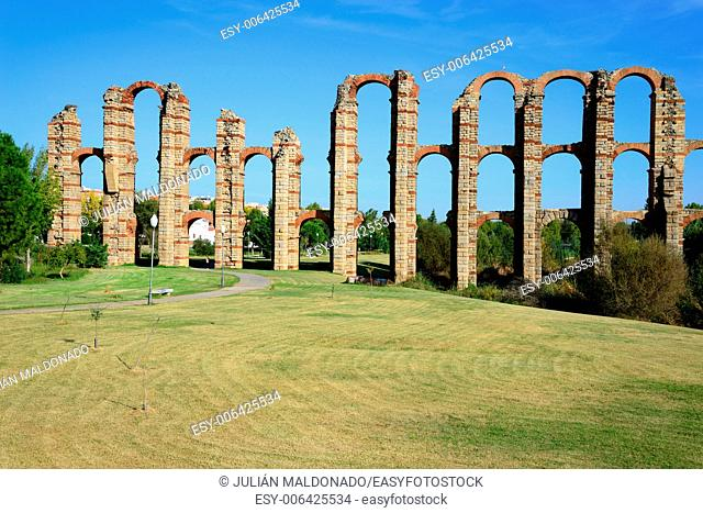 Los Milagros aqueduct in Merida, Spain