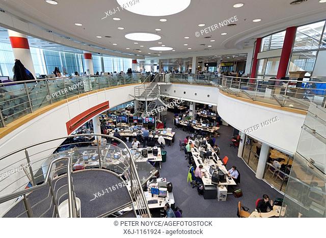 News room at BBC Television Centre Wood Lane, London