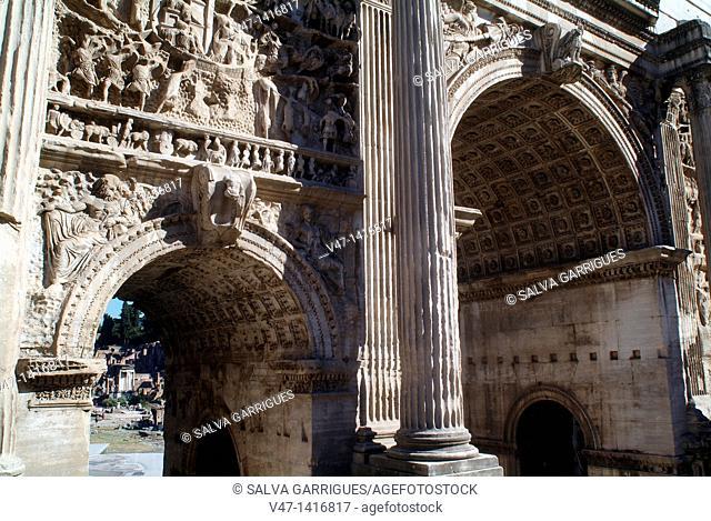 Triumphal Arch, Arch of Septimius Severus, Rome, Italy