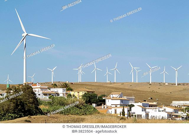 Windmills on a wind farm at the hamlet of El Almarchal near Zahara de los Atunes, Cádiz province, Andalucía, Spain