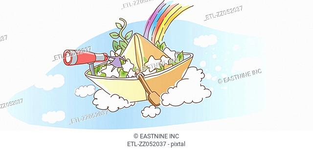 A person sitting on nautical vessel against rainbow