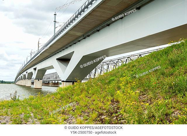 Moerdijk, Netherlands. The 2004 build high speed railroad bridge over river Hollandsch Diep