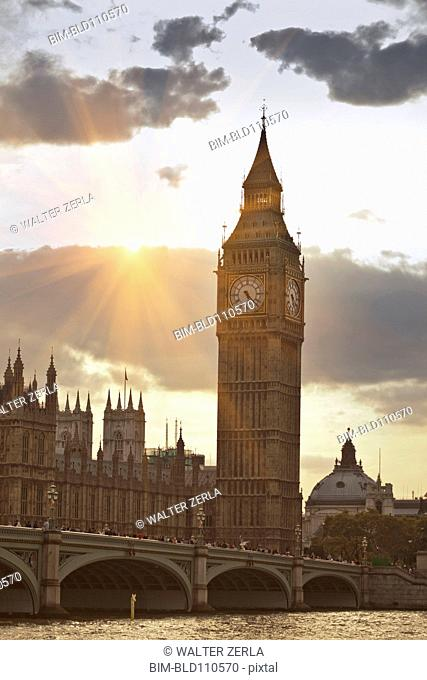 Sunbeams on Big Ben clock tower