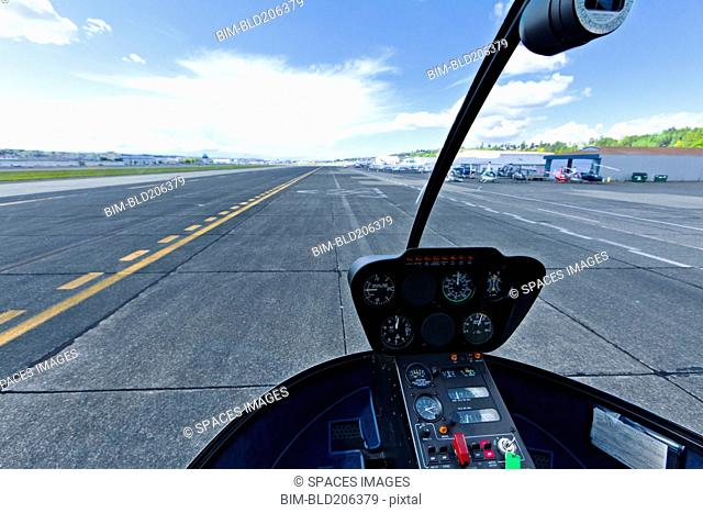 Airport Runway From a Cockpit