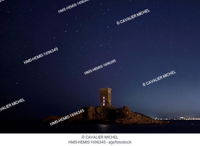 France, Var, Saint Raphäel, the ile of Gold tower at night under the celestial vault