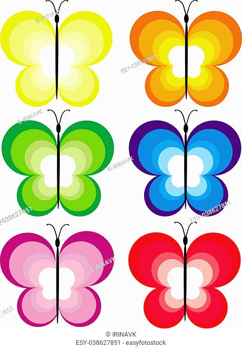 Six multi-coloured butterflies from circles