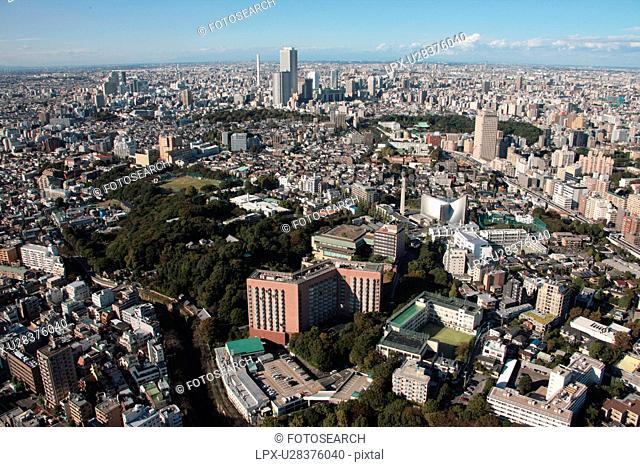 Aerial view of Bunkyo ward, Tokyo Prefecture, Honshu, Japan