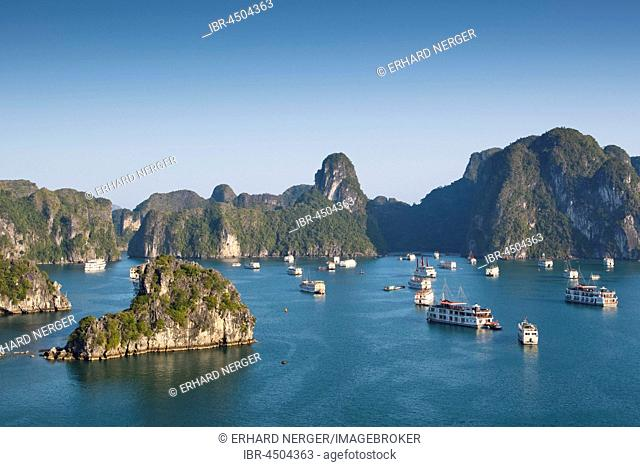 Tourist boats in Halong Bay, Halong, Gulf of Tonkin, Vietnam
