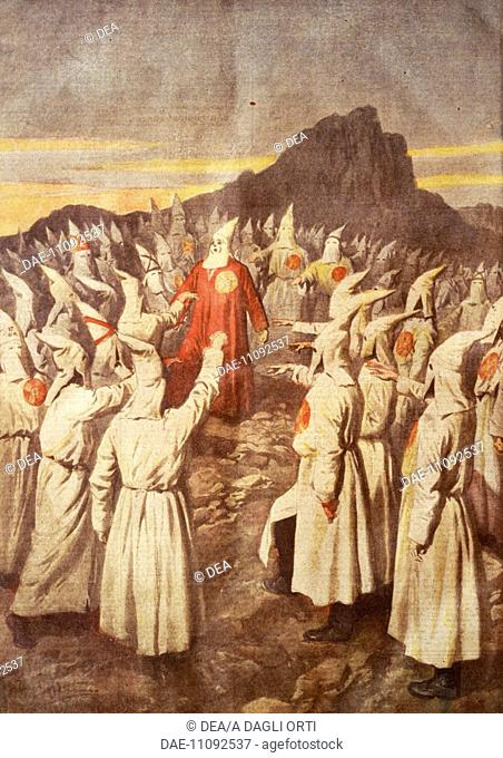 Ku Klux Klan meeting on the mountains of Georgia, 1920. Achille Beltrame (1871-1945), illustration from La domenica del Corriere