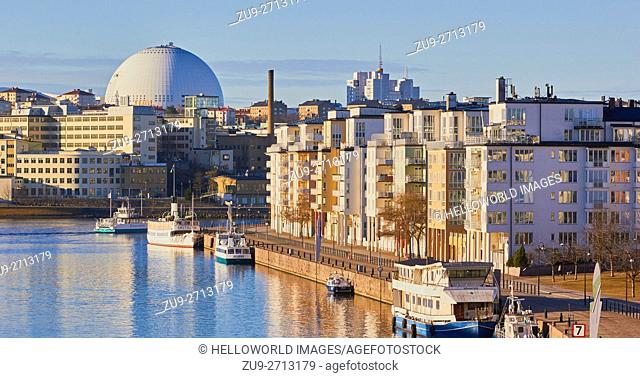 Hammarby Sjostad eco neighbourhood and Ericsson Globe Arena, Stockholm, Sweden, Scandinavia