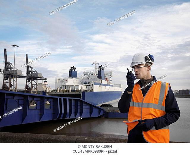 Port Worker In Front Of Container Ship