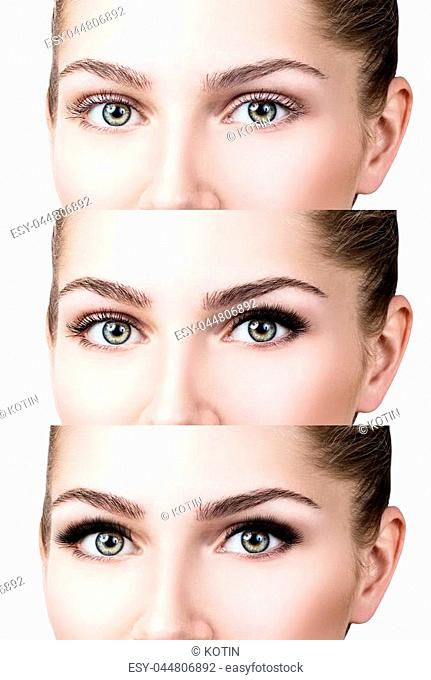 Woman's face close-up before and after bright makeup. Over white background