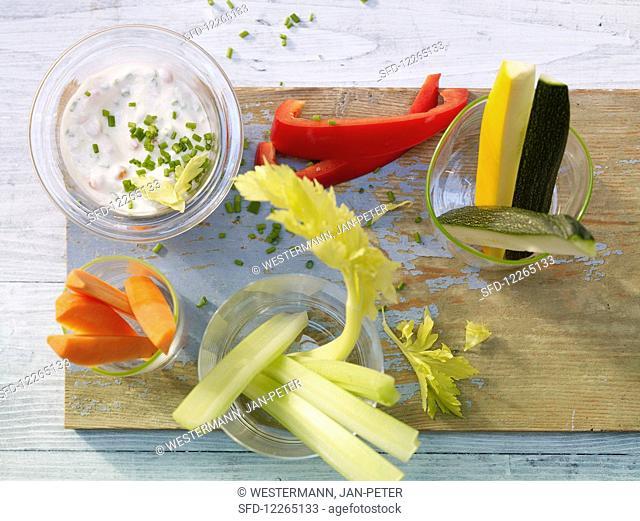 Vegetable sticks with caviar dip