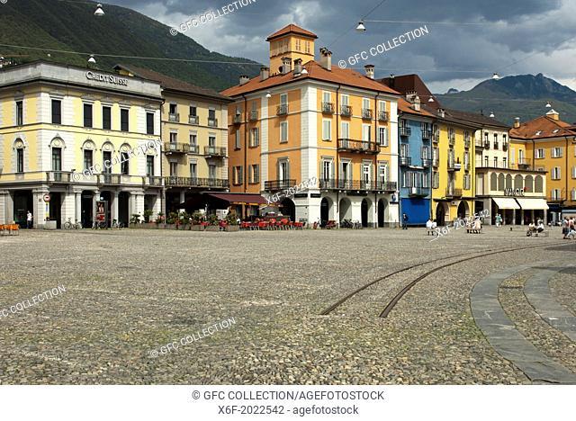 Cobbelstone pavement on the main square Piazza Grande, Locarno,Ticino, Switzerland