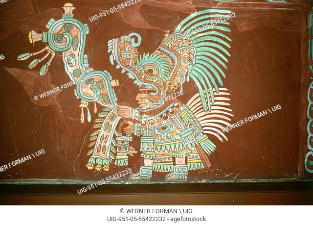 Reconstruction of a polychrome mural mural 2, in room 2 from Tepantitla depicting an elaborately garbed priest wearing a crocodile headdress