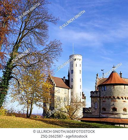 Lichtenstein Castle near Reutlingen, Wurttemberg, Germany, often referred to as the fairytale castle of Wurttemberg