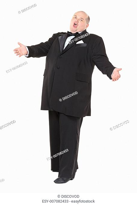 Very overweight cheerful businessman, on white background