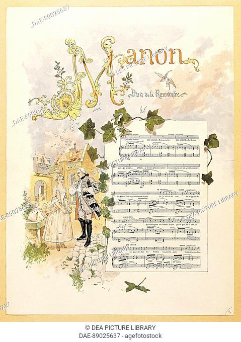 Jules Massenet (1842-1912), Manon, 1884. Illustrated score. Act I, An inn courtyard at Amiens.  Paris, Bibliothèque-Musée De L'Opéra National De Paris-Garnier...
