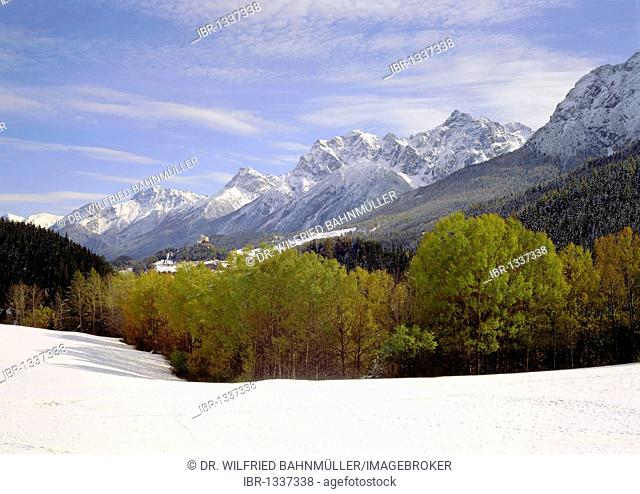 Early winter, Lischanagruppe range, Lower Engadin, Canton of Grisons, Switzerland, Europe