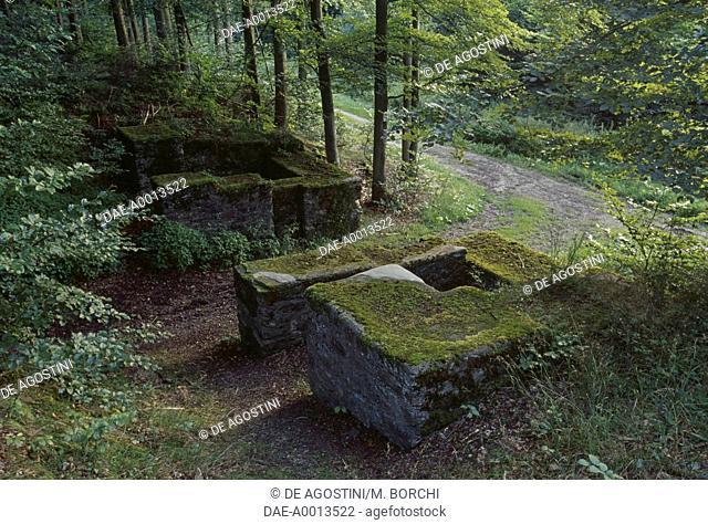 Porta Principalis Sinistra (left side entrance), Holzhausen Fort (UNESCO World Heritage Site, 2005), Holzhausen an der Haide, Rhineland-Palatinate, Germany