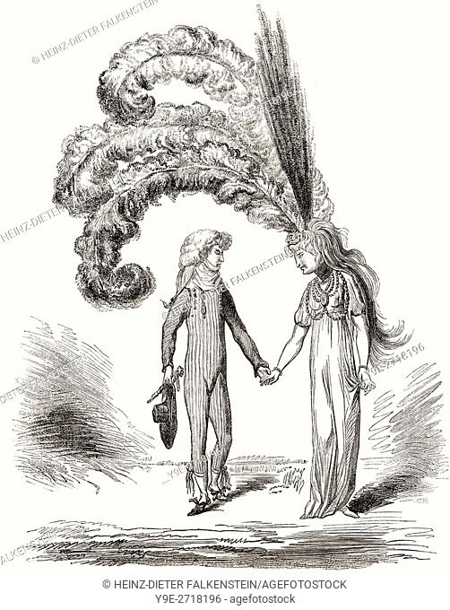 Cartoon by James Gillray, 1756-1815, an English caricaturist and printmaker