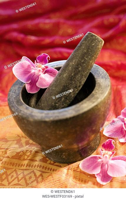 Mortar with pestle and flowers, close-up