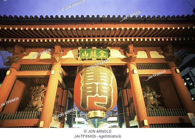 Japan, Tokyo, Asakusa, Asakusa Kannon Temple, Lantern at Kaminarimon Gate