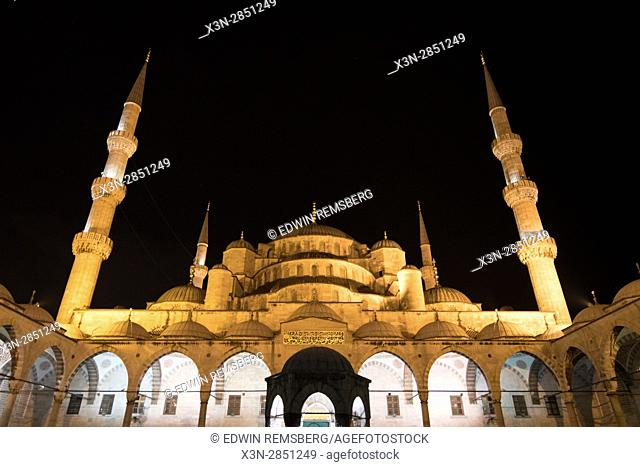 The courtyard of the Sultan Ahmed Mosque, or Blue Mosque, located in Istanbul, Turkey